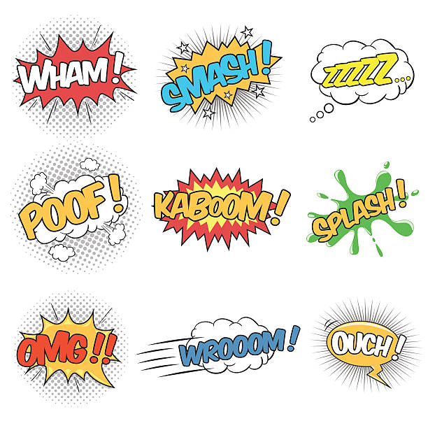 Set of Wording Sound Effects for Comic Speech Bubble Collection of nine wording sound effects for comic speech bubble. demolished stock illustrations