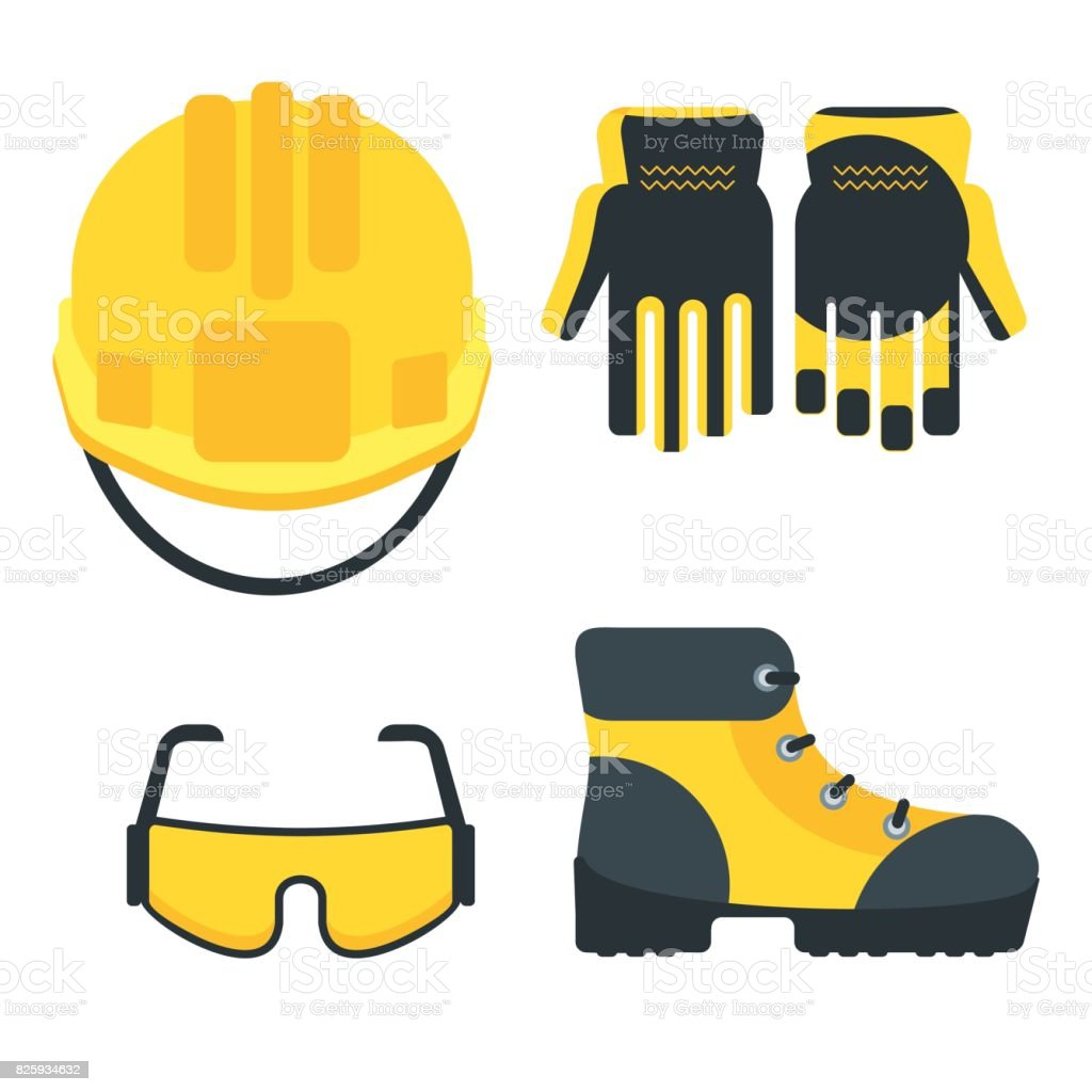 set of work equipment vector art illustration