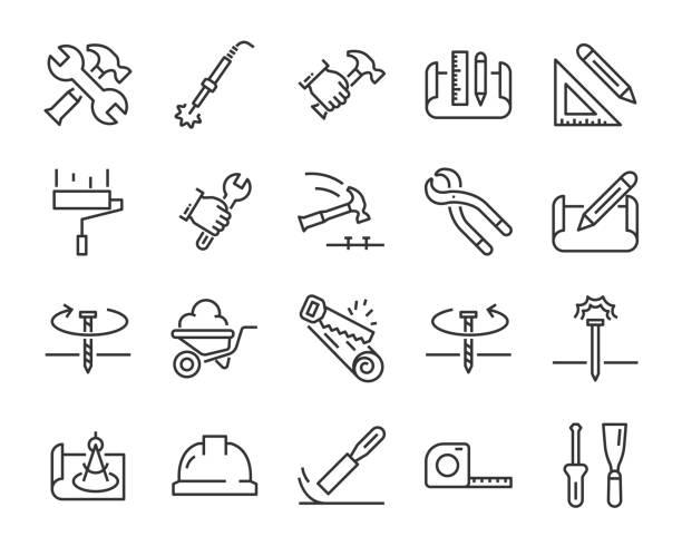werksymbole, wie ingenieur, tischler, bauherr, bauherr - schreiner stock-grafiken, -clipart, -cartoons und -symbole