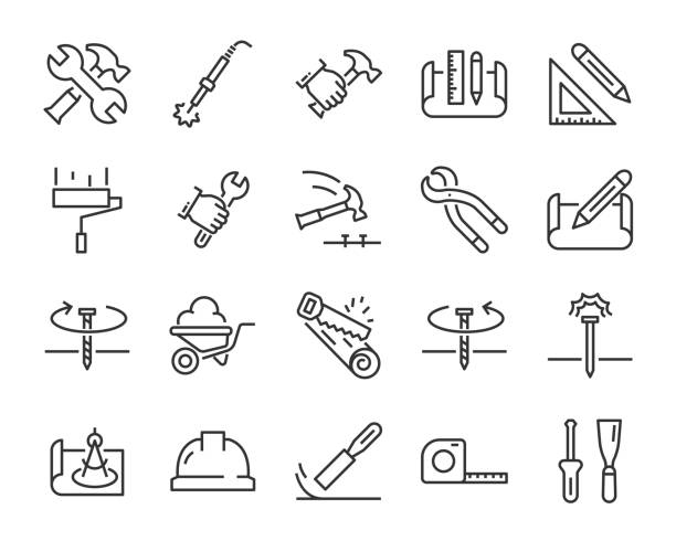 set of work icons, such as engineer, carpenter, construction, builder - tools stock illustrations