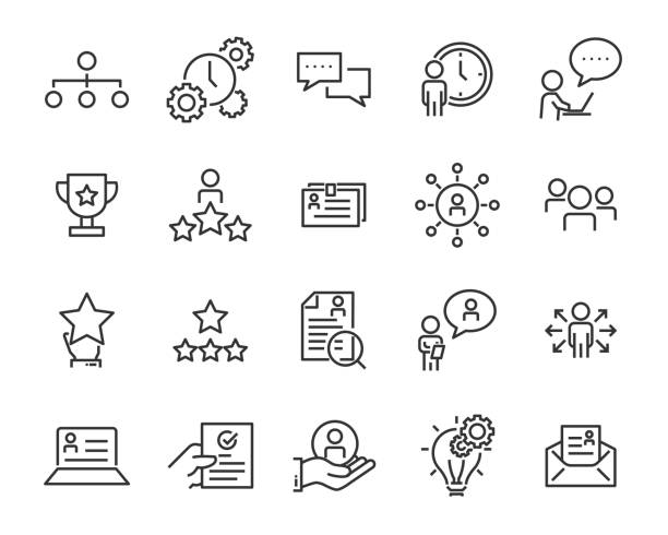 set of work icons, such as working, career, job, search, person, recruitment and more set of work icons, such as working, career, job, search, person, recruitment and more aptitude stock illustrations