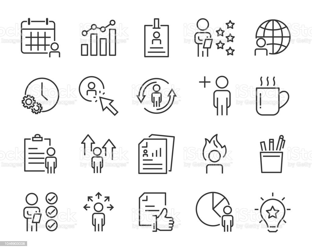 Set Of Work Icons Such As Working Career Job Search Person