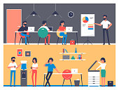 Set of workers characters in office interior. Business meeting, teamwork, brainstorming, planning, conference in flat style. Office work daily routine. Business infographic element.