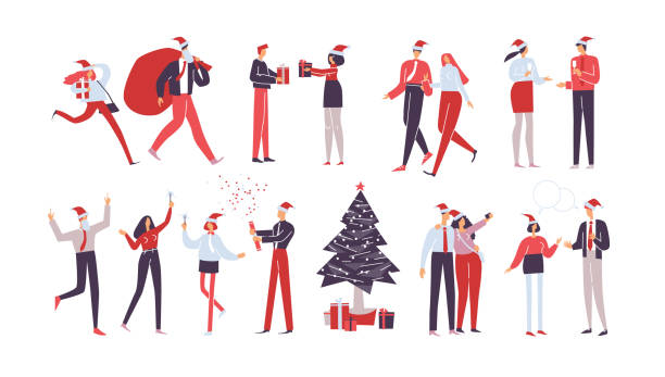작업자 집합입니다. 크리스마스 기업 파티. 홀리데이 벡터 일러스트레이션 격리 - 가공의 인물 stock illustrations