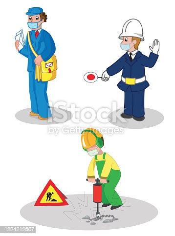 Postman, warden and building contractor, people woth protection masks. Set of illustrated jobs, vector illustration