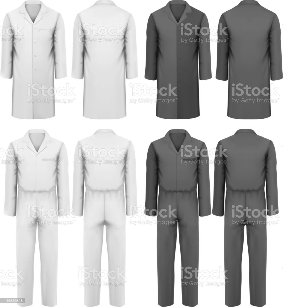 Set of worker's overalls design template in white and black vector art illustration