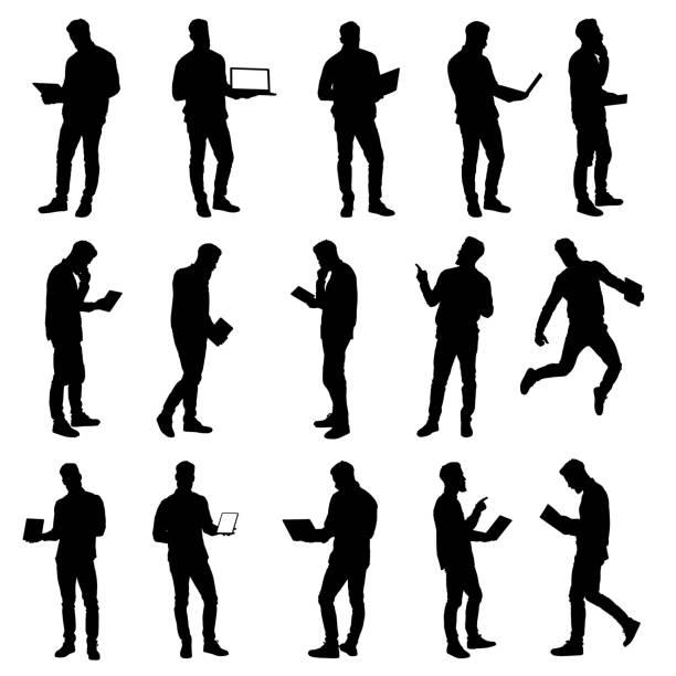 ilustrações, clipart, desenhos animados e ícones de jogo do homem de negócio de trabalho que usa silhuetas do portátil e da tabuleta - figura para recortar