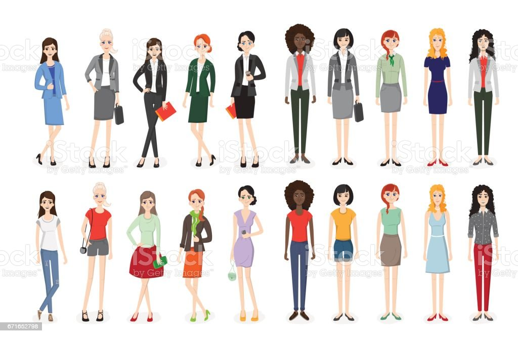 Set of working people standing. vector art illustration
