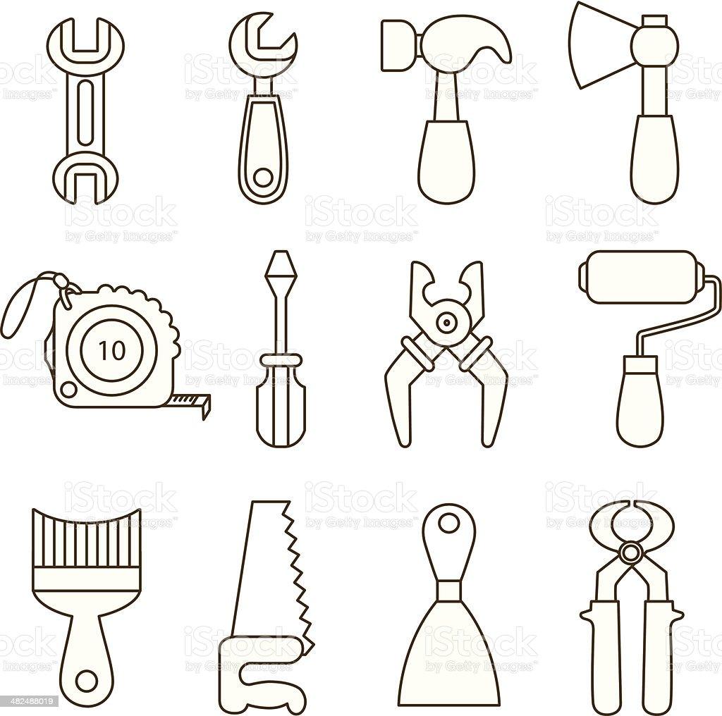 Conjunto De Iconos De Herramientas De Trabajo - Arte vectorial de ...