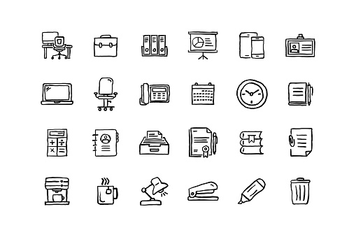 Set of Workspace related objects and elements. Hand drawn vector doodle illustration collection. Hand drawn icon set.