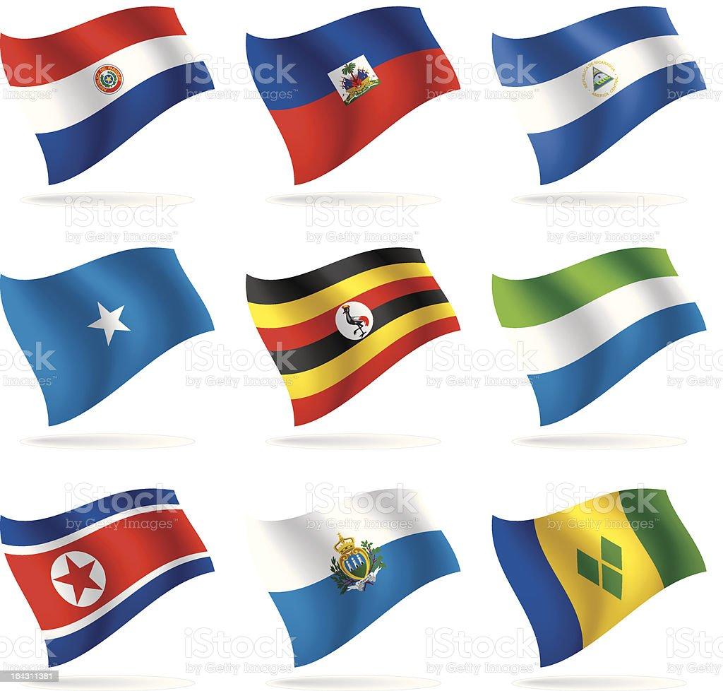 Set of world flags 10 vector art illustration