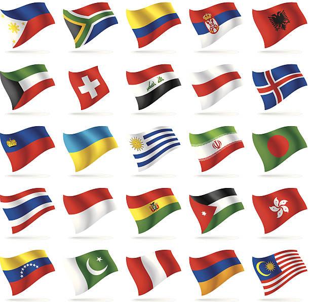 ilustrações, clipart, desenhos animados e ícones de conjunto de bandeiras do mundo 3 - bandeira do peru