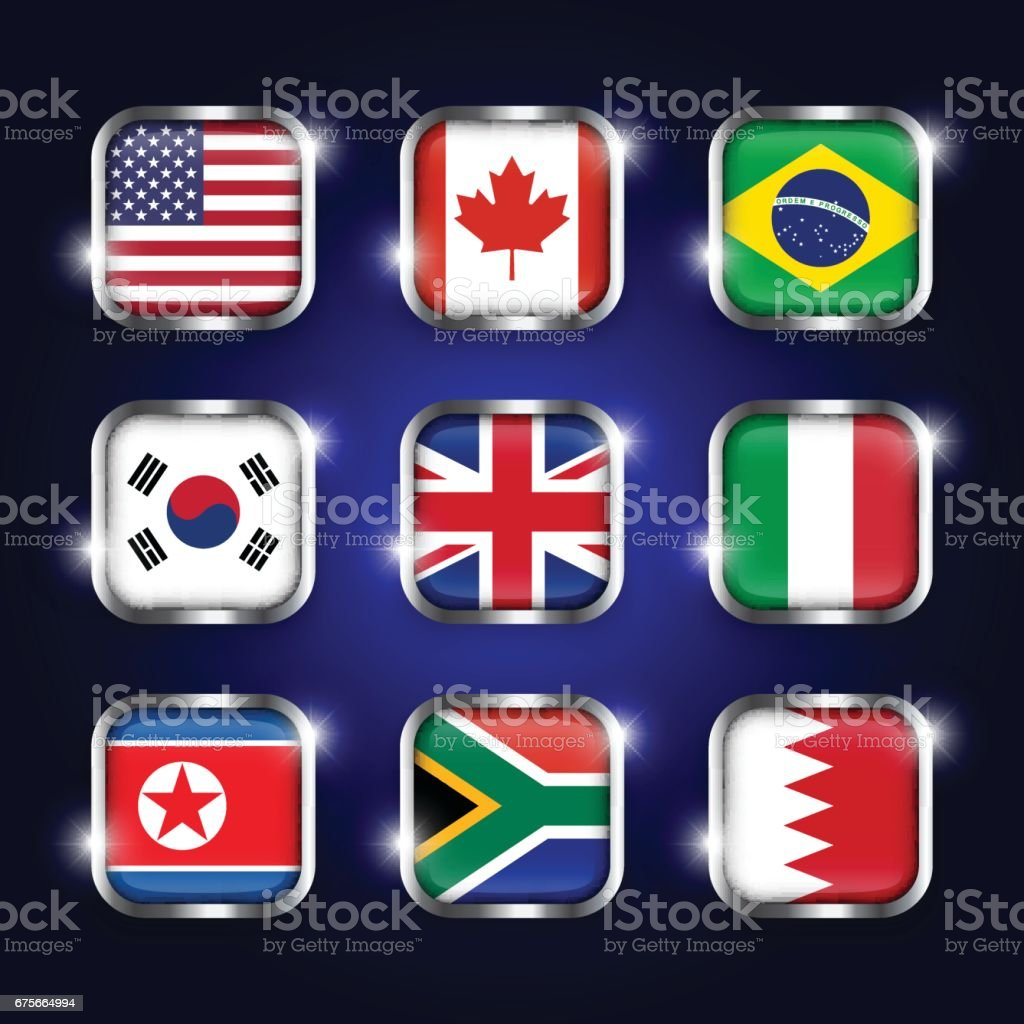 Set of world flags quadrangular glass buttons with steel border and twinkle ( USA . Canada . Brazil . South korea . United kingdom of great britain . Italy . North korea . South africa . Bahrain ) royalty-free set of world flags quadrangular glass buttons with steel border and twinkle stock vector art & more images of africa