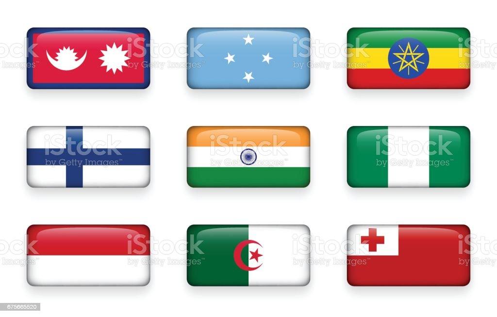 Set of world flags rectangle buttons ( Nepal . Micronesia . Ethiopia . Finland . India . Nigeria . Monaco . Algeria . Tonga ) vector art illustration