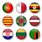Set of world flags round badges ( Portugal . Malta . Uganda . Catalonia . Dominica . Latvia . Croatia . Lithuania . Zambia ) .