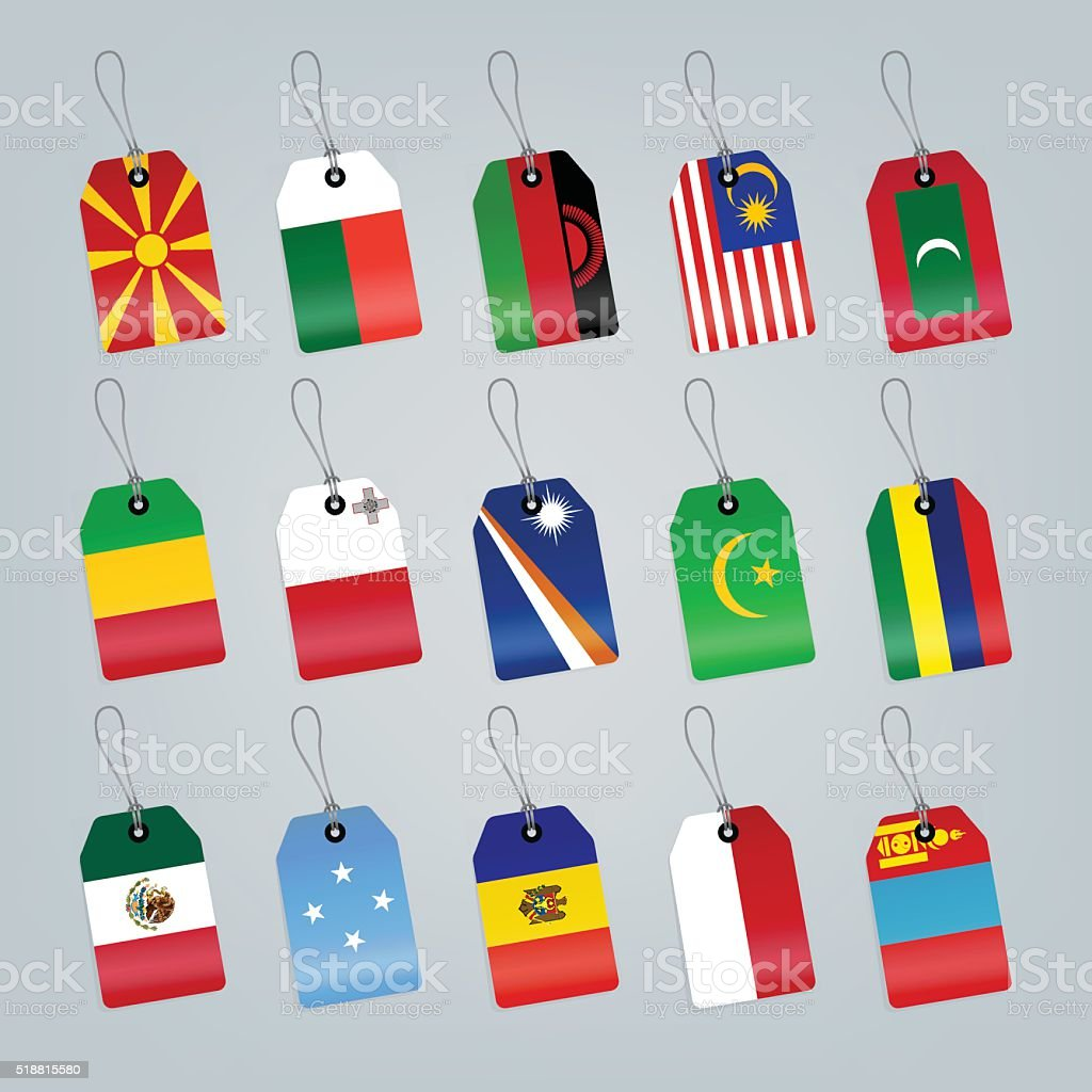 Set of world flags. vector art illustration