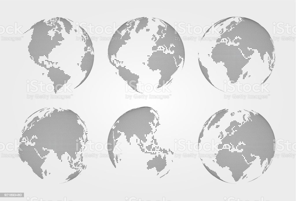 Set of world map . Dotted style . Vector vector art illustration