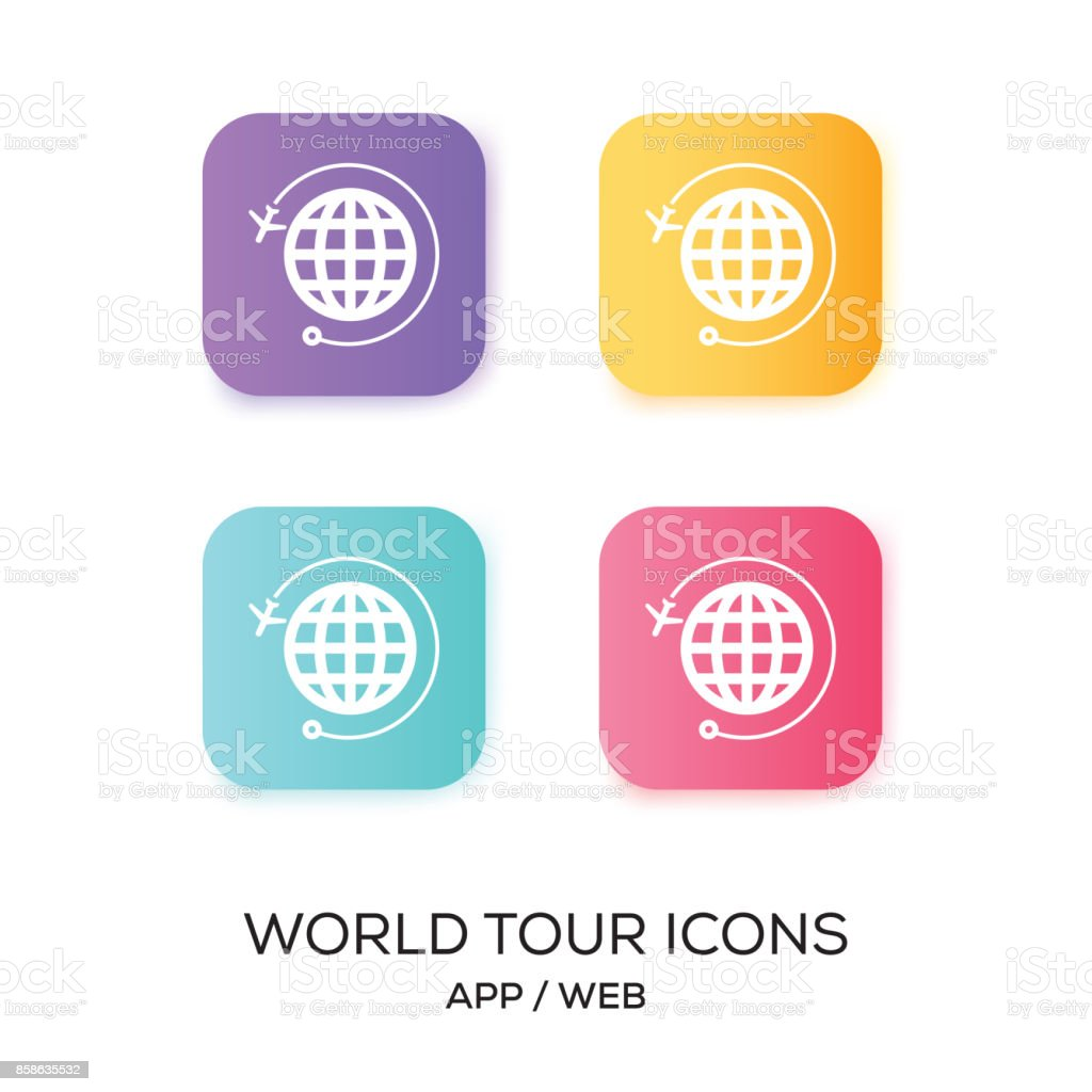 Jeu d'icône d'App World Tour - Illustration vectorielle