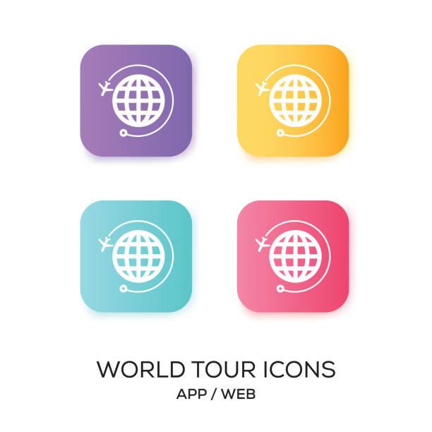 Set of World Tour App Icon vector art illustration