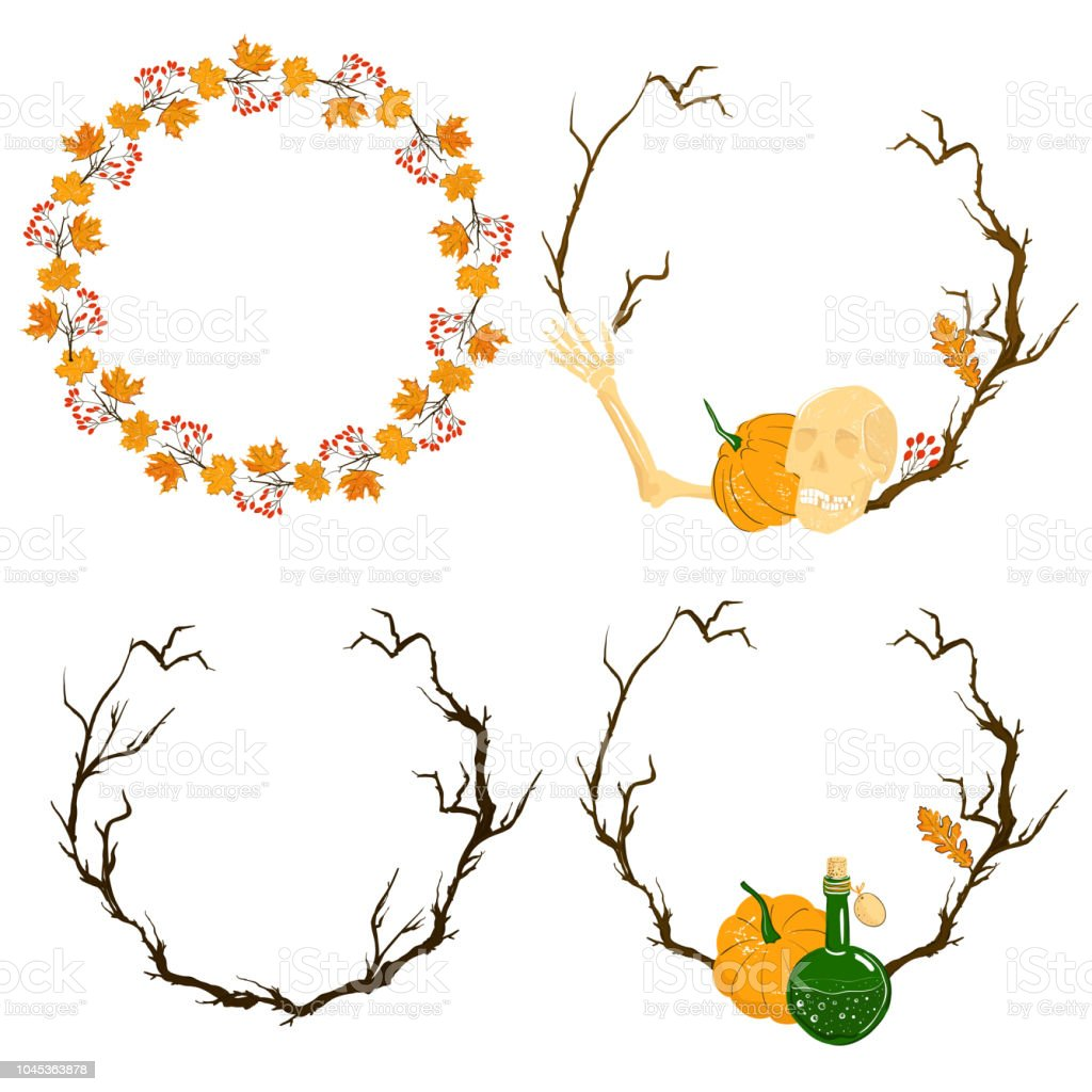 A Set Of Wreaths And Frames For Decorating Halloween Decorative ...