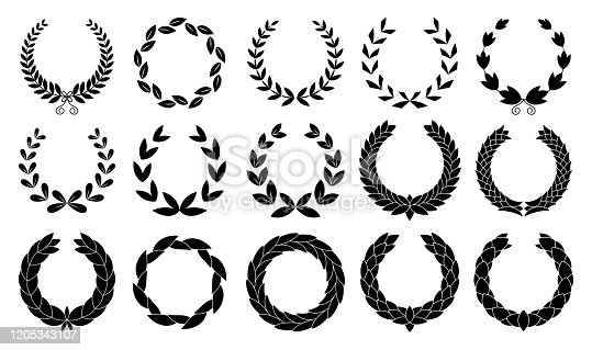 istock Set of wreaths circular laurel heraldry reward achievement leaf nobility laurel wreath 1205343107