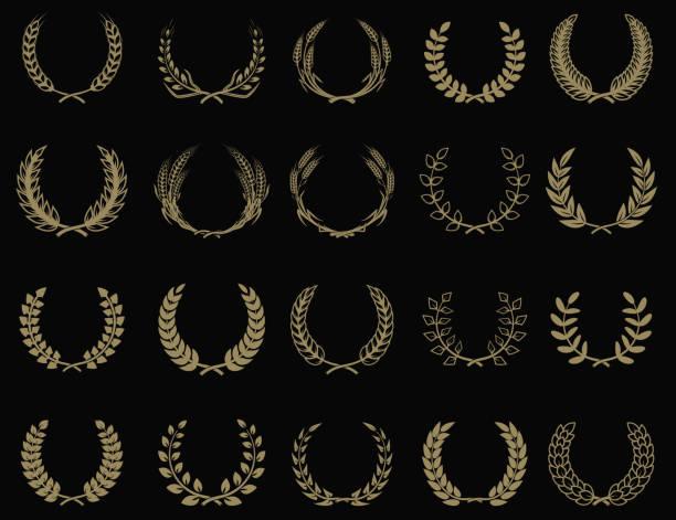 Set of wreaths icons in golden style. Design element for label, emblem, sign. Vector illustration. Set of wreaths icons in golden style. Design element for label, emblem, sign. Vector illustration. bay leaf stock illustrations