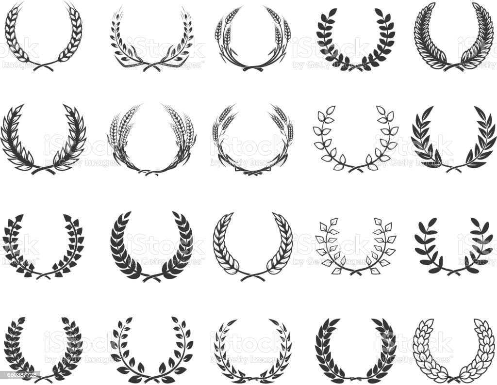 Set of wreaths isolated on white background. Design elements for label, emblem, poster, t-shirt. Vector illustration.