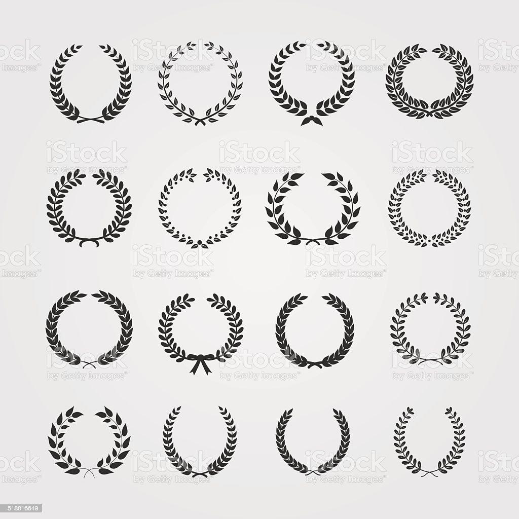 Set of wreaths: wheat circular laurel heraldry reward achievemen vector art illustration