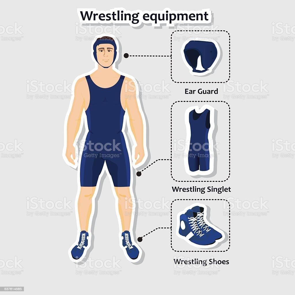 Set of wrestling equipment with man vector art illustration