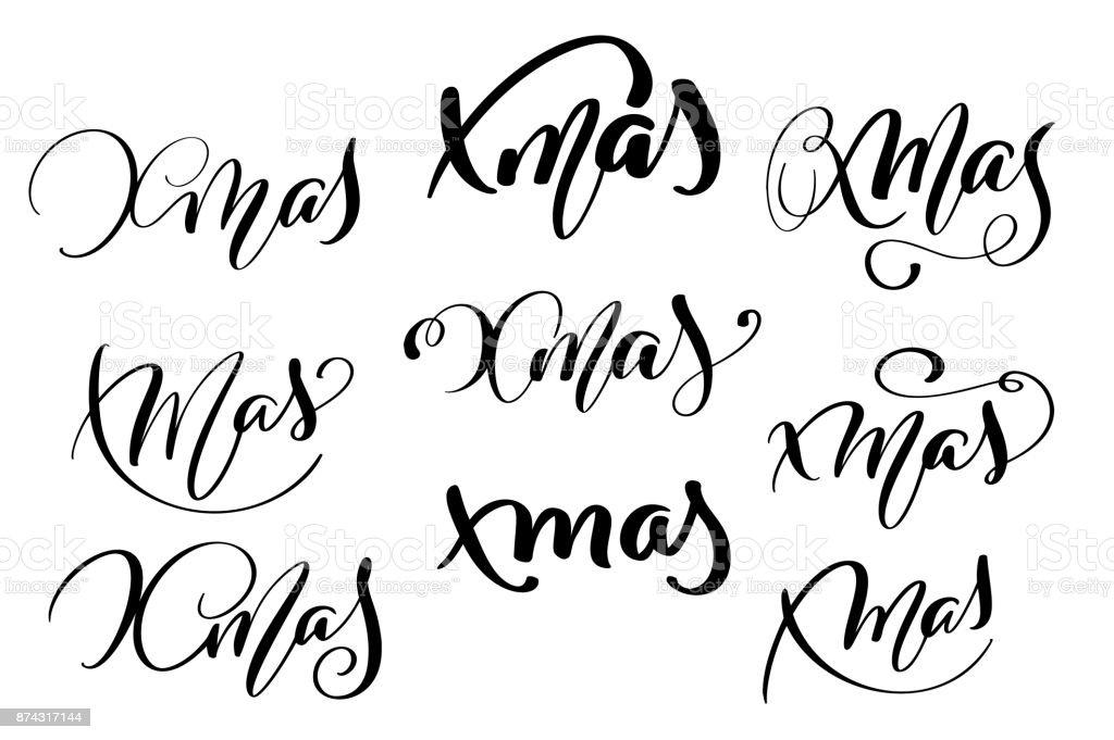 Satz Von Xmas Kalligraphie Schrift Wort Weihnachten Und Silvester ...