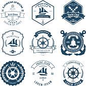 Set of Yacht Club Labels Design Elements Vector Illustration