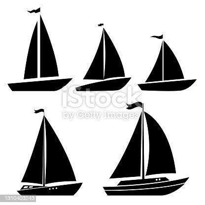 Set of yacht icons. Design element for label, sign, poster. Vector illustration