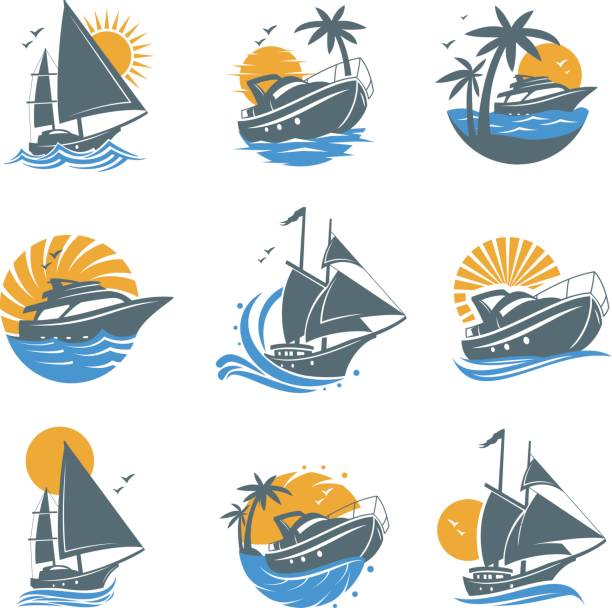 Set of yacht icons vector art illustration