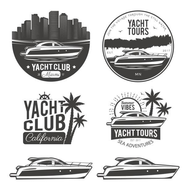 illustrations, cliparts, dessins animés et icônes de ensemble d'yacht - voilier à moteur