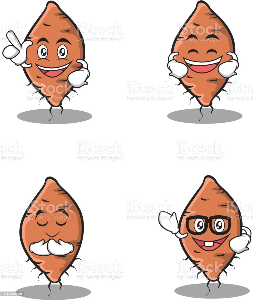 Set of yam character cartoon vector illustration vector art illustration