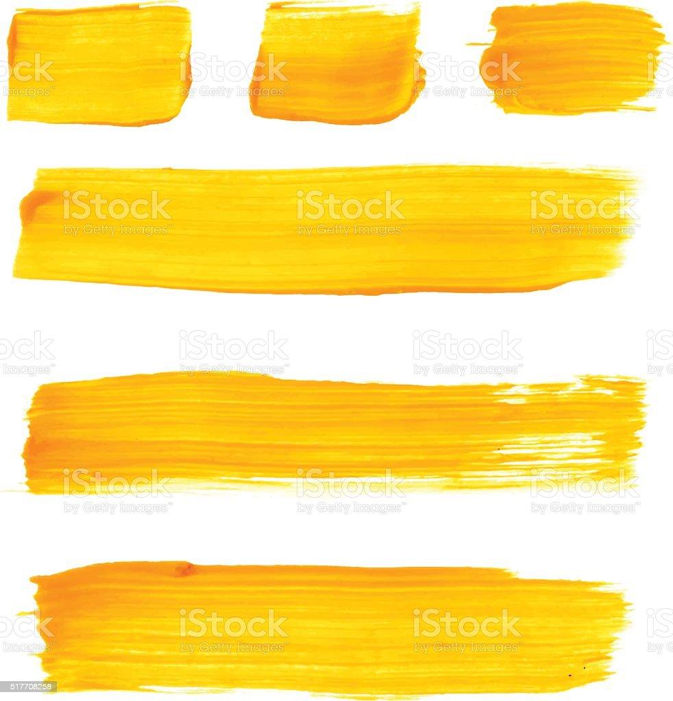 Set of yellow acrylic brush vector strokes