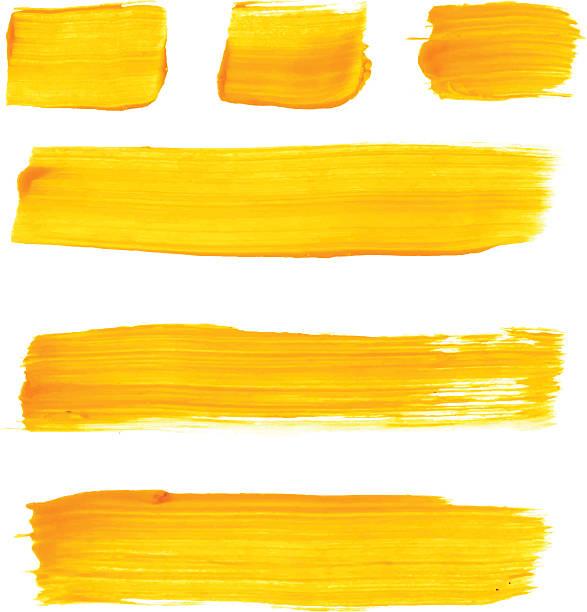 zestaw żółta szczotka wektor pociągnięcia akrylowego - farba stock illustrations