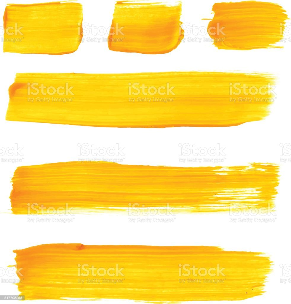 Set of yellow acrylic brush vector strokes vector art illustration