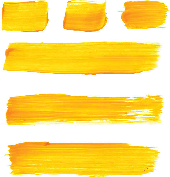 stockillustraties, clipart, cartoons en iconen met set of yellow acrylic brush vector strokes - acrylverf