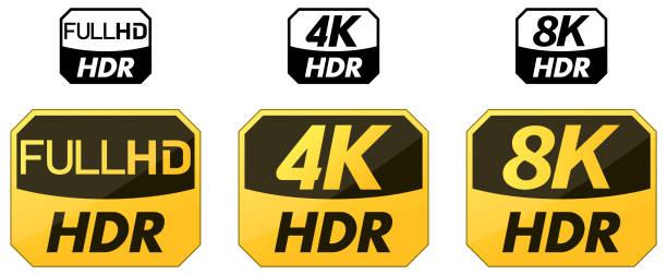 stockillustraties, clipart, cartoons en iconen met reeks gele en zwarte pictogrammen hdr. hd- en 4k- en 8k-versie - hdri landscape