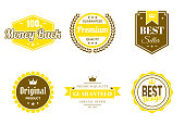 Set of 6 Yellow badges and labels, isolated on white background (100% Money Back, Premium - Guaranteed Quality, Best Seller, Original Product, Guaranteed - Premium Quality - Special Offer, Best Design). Elements for your design, with space for your text. Vector Illustration (EPS10, well layered and grouped). Easy to edit, manipulate, resize or colorize.