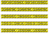 set of yellow caution tape concerning social or safe distancing lockdown quarantine in an outbreak period vector isolated