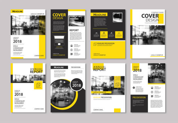 illustrazioni stock, clip art, cartoni animati e icone di tendenza di set of yellow cover and layout brochure, flyer, poster, annual report, design templates. use for business book, magazine, presentation, portfolio, corporate background. - rapporto