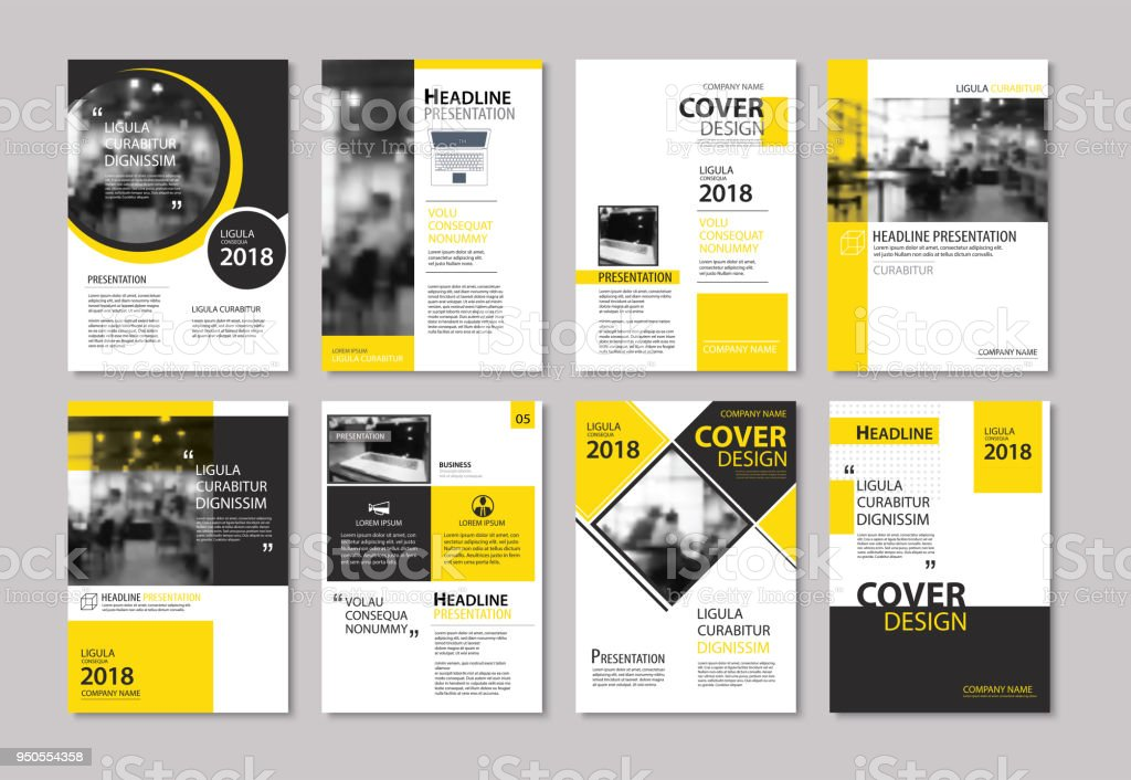 Set Of Yellow Cover And Layout Brochure Flyer Poster Annual Report