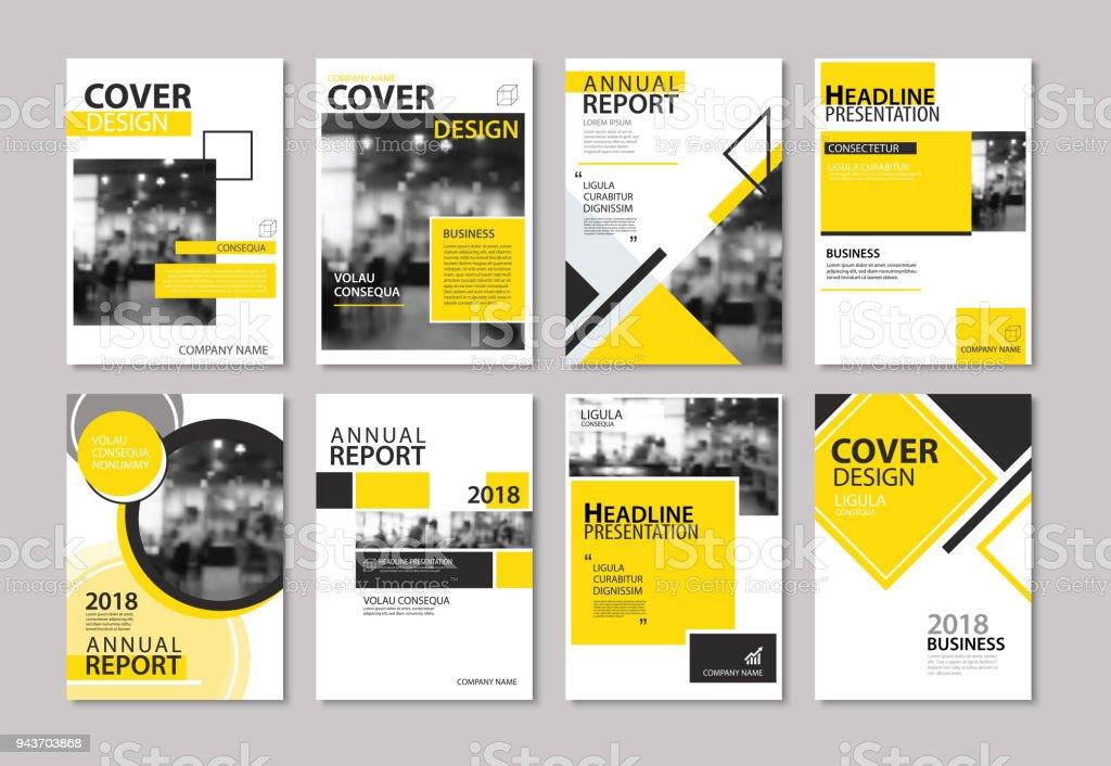 黄色のカバーの年次報告書、パンフレット、デザイン テンプレートのセットです。ビジネス誌、チラシ、プレゼンテーション、ポートフォリオ、ポスター、企業の背景に使用します。 ベクターアートイラスト