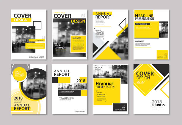 set of yellow cover annual report, brochure, design templates. use for business magazine, flyer, presentation, portfolio, poster, corporate background. - poster stock illustrations