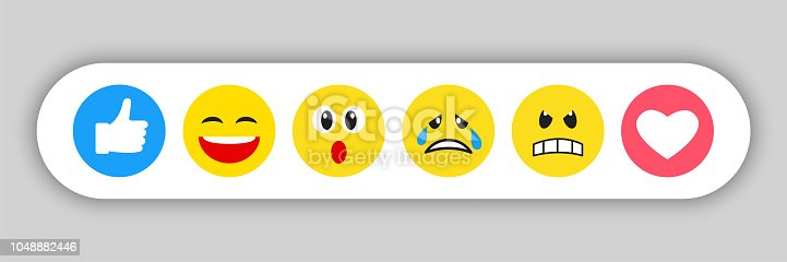 Set of yellow emoticons and emojis, vector illustration