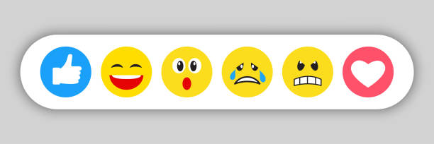 stockillustraties, clipart, cartoons en iconen met set gele emoticons en emojis - social media