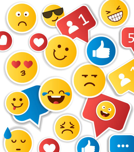 set of yellow emoticons and emojis - tears of joy emoji stock illustrations