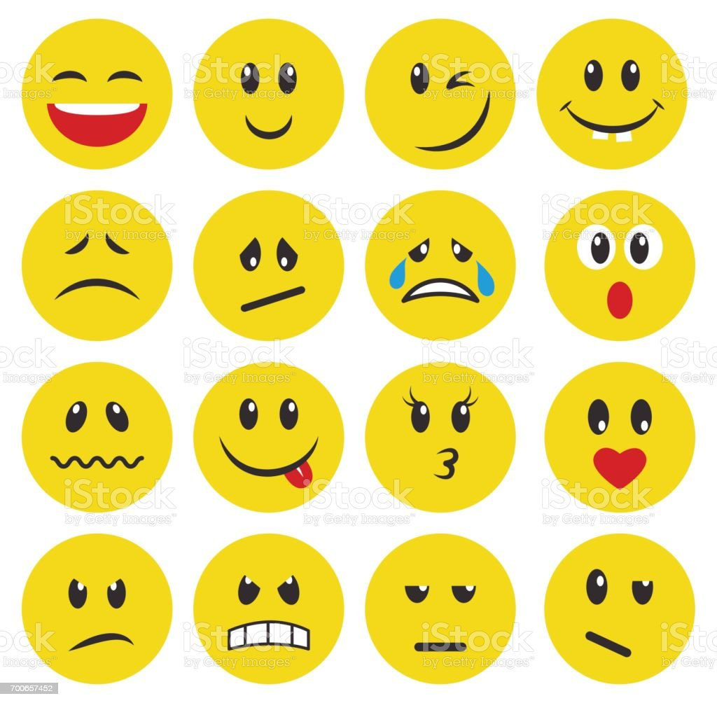 Conjunto de emoticonos amarillos y emojis - ilustración de arte vectorial